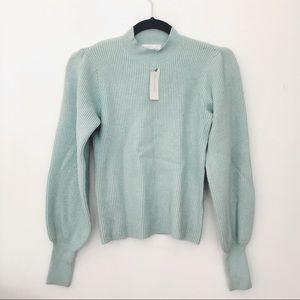 Anthro mint mock neck sweater